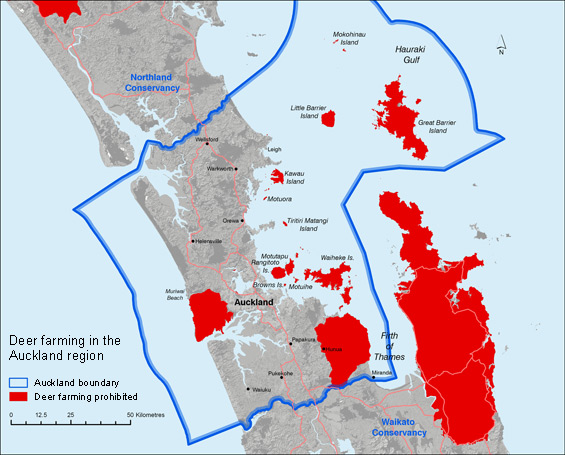 Map showing where deer farming is prohibited in the Auckland region.