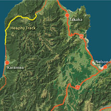 Location of Heaphy Track.