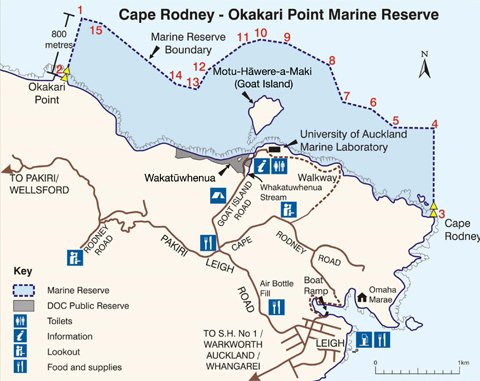 Cape Rodney-Okakari Point Marine Reserve boundaries and coordinates.