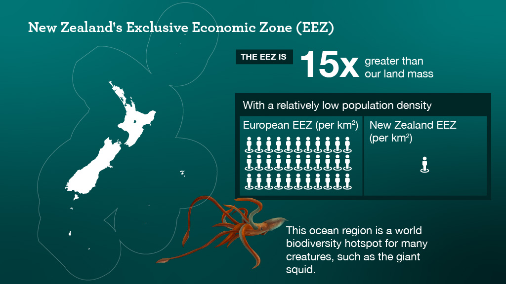 A graphic showing the Exclusive Economic Zone of New Zealand. The image also shows our low population density compared to Europe.