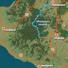 Map with location of the Whanganui Journey.