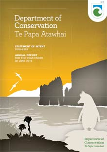 Department of Conservation Annual Report 2016 cover.