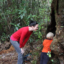 Exploring on the Mangakara Nature walk. Photo: Adrienne Grant.