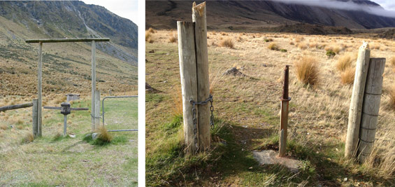 Boundary Hut turnstile, before and after damage.