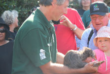 Jonathan Miles shows one of the kiwi.