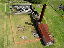Aerial view of Blackwater Mine winding engine foundations and boiler/workshop remains. Photo: Les Wright.