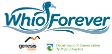 Whio Forever logo with DOC and Genesis Energy logos.