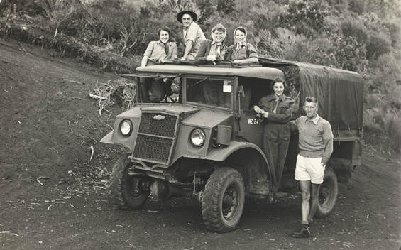 Transport from Motutapu to Rangitoto was by truck. Photo: Madge Redwood.