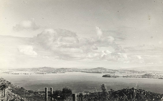 The view from Rangitoto Island summit in the early 1940s. Photo: Madge Redwood.