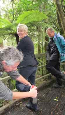 Associate Conservation Minister Nicky Wagner is getting her boots cleaned at a cleaning station in Puketi Forest to prevent the spread of kauri dieback (PTA).