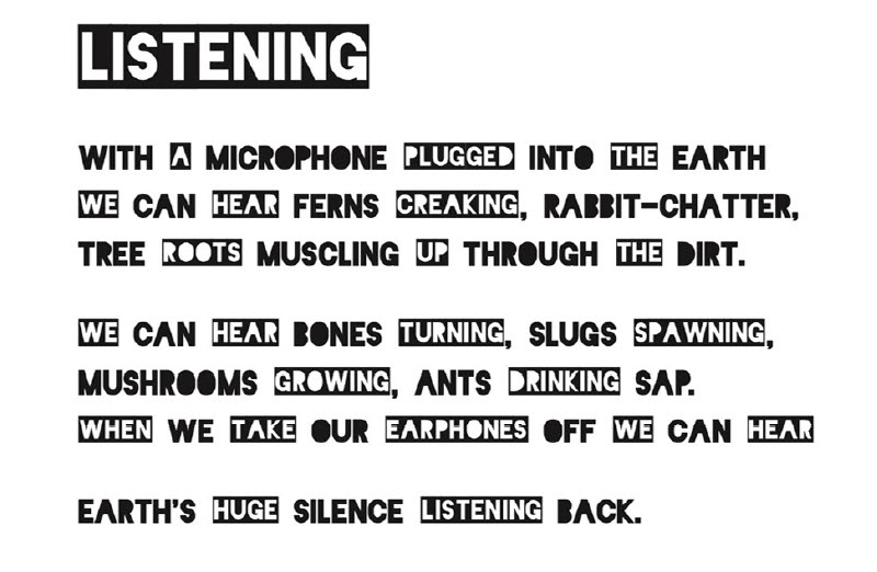 """Listening"" poem by Peter Bland."