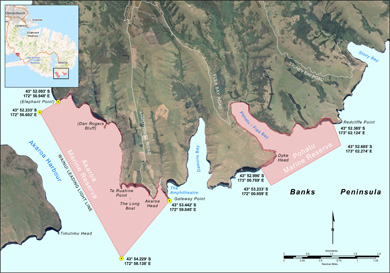 Akaroa and Pohatu marine reserves map