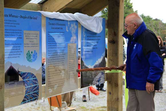 Tipene O'Regan unveiling and blessing the new Copland road end interpretation panels. Photo: K. Henderson.