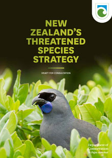 New Zealand's Threatened Species Strategy draft for consultation cover.