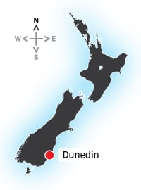 Map of NZ with Dunedin highlighted.