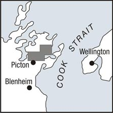 Queen Charlotte Track locality map.