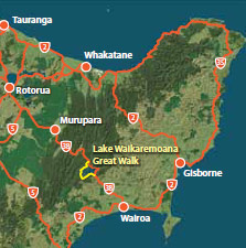 Map with the location of the Lake Waikaremoana Great Walk.