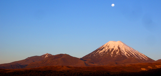 Moonrise over Ngauruhoe.