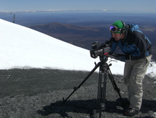 Filming on the 2007 Lahar path. Photo: Karen Williams.