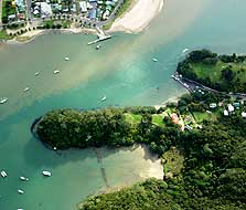 Aerial photo of Whitianga Rock and the kauri boom. Photo: Kevin L Jones.