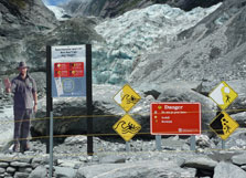 Safety signs Franz Josef Glacier.