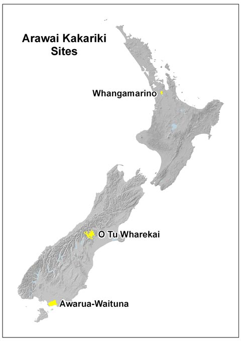 Map of Arawai Kakariki wetland restoration projects.