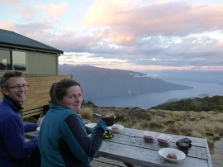 Enjoying the view from Luxmore Hut. Photo: Christine Officer.