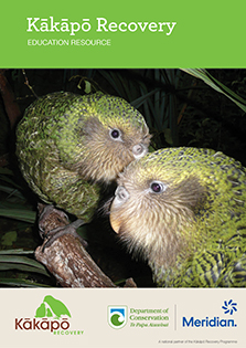Kākāpō Recovery education resource cover.