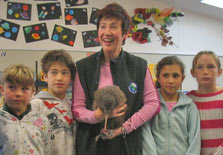 Fern with trust member Melody McLaughlin and Fernlea School pupils before he was released into the Rimutaka Forest Park in May 2009. Photo: Rimutaka Forest Park Trust