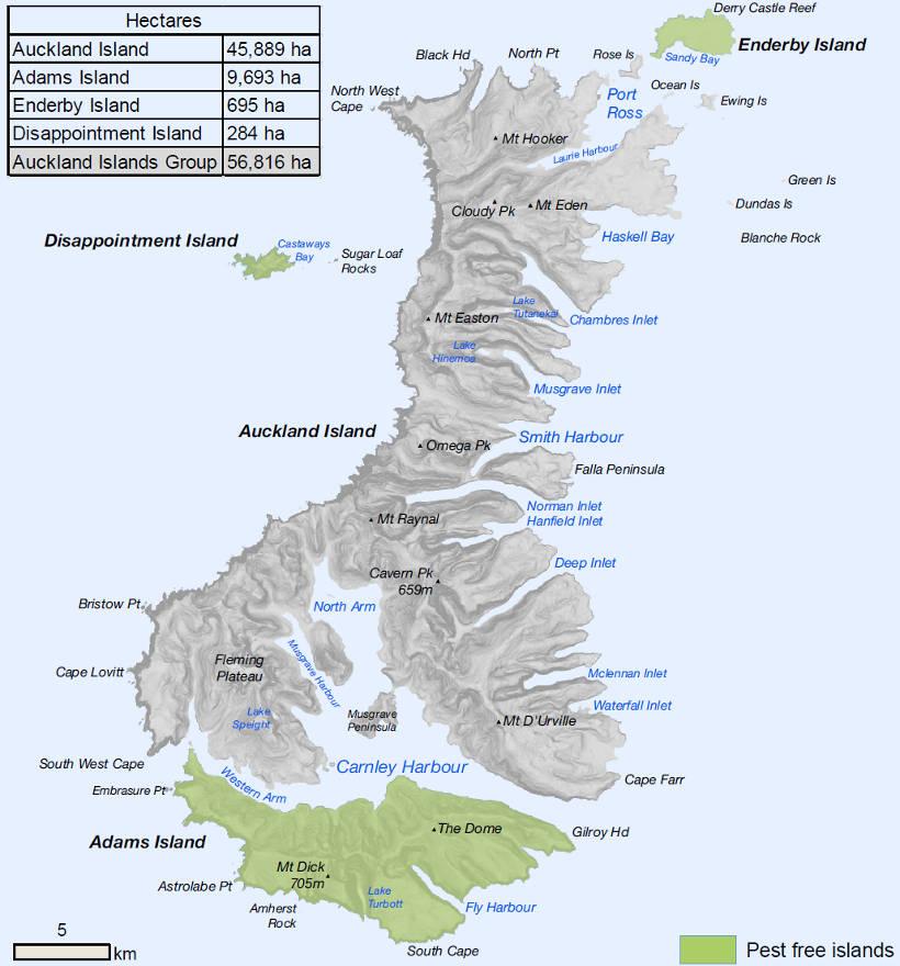 Map of the Auckland Islands: New Zealand\'s subantarctic islands