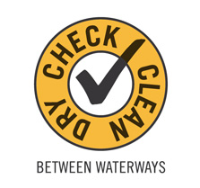 Check, Clean and Dry between waterways logo.