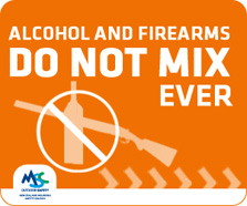 Alcohol and firearms do not mix ever logo.