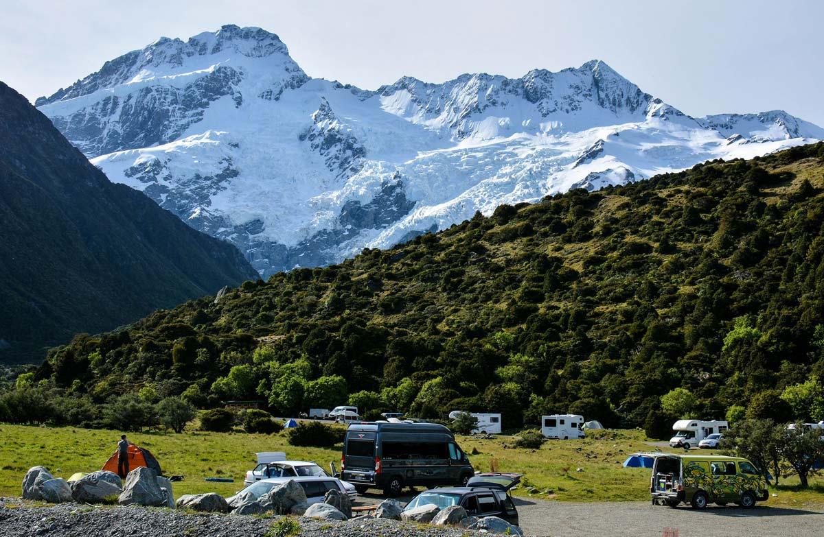 white horse hill conservation campsite aoraki mount cook national