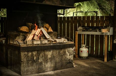 Whirinaki Recreation Camp - fireplace.