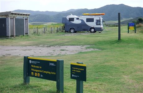 Motorhome at Whangapoua campsite.