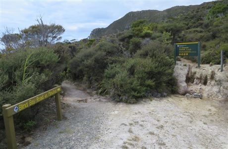Signs on Te Ahumata track.