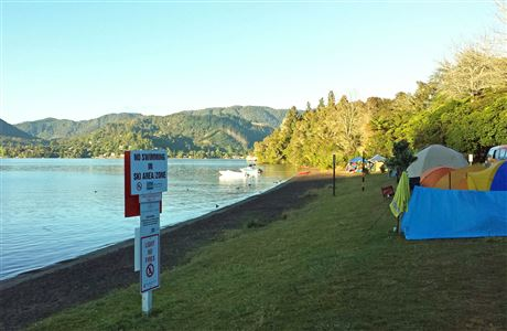 Campers by Lake Okareka.
