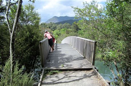 Tarawera Outlet, people on bridge.