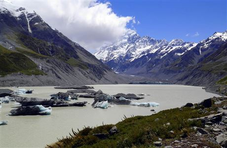 Glacier-fed lake on Hooker Valley Track.