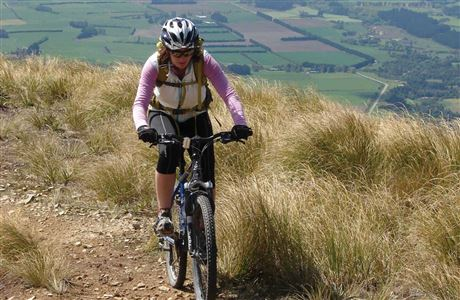 Mountain biker on Mt Studholme.