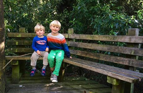 Children on a seat in Riccarton Bush.