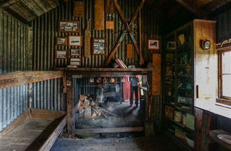 Inside historic Waihohonu Hut.