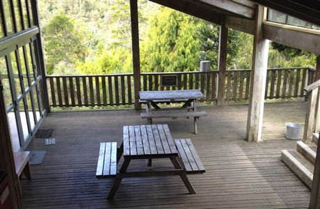Pinnacles Hut deck.