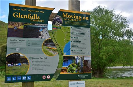 Glenfalls Campsite - information sign.