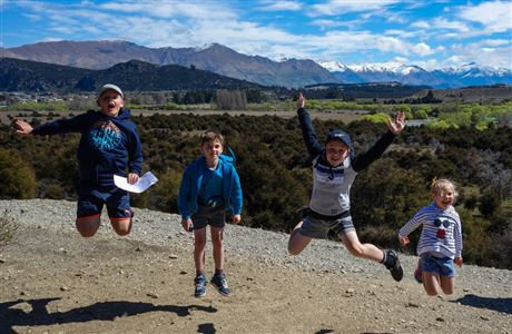 Children jumping, Butterfields Wetland Walk.