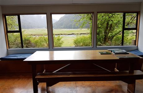 View from inside Routeburn Flats Hut.