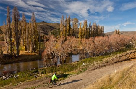 Cyclist on Otago Central Rail Trail.