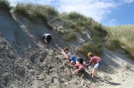 Children playing in the sand dunes.