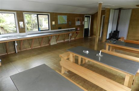 Dining area in North Arm Hut.