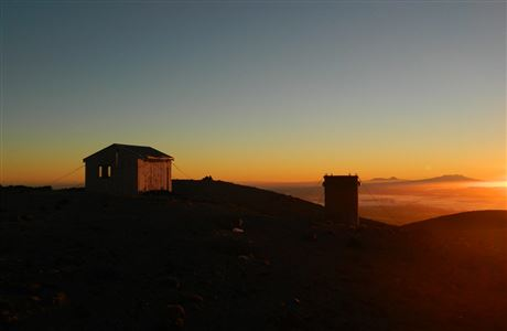 Syme Hut at sunset.